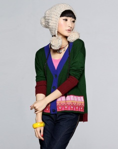 Liebo New V Neck Patch Embroidery Sweater 1